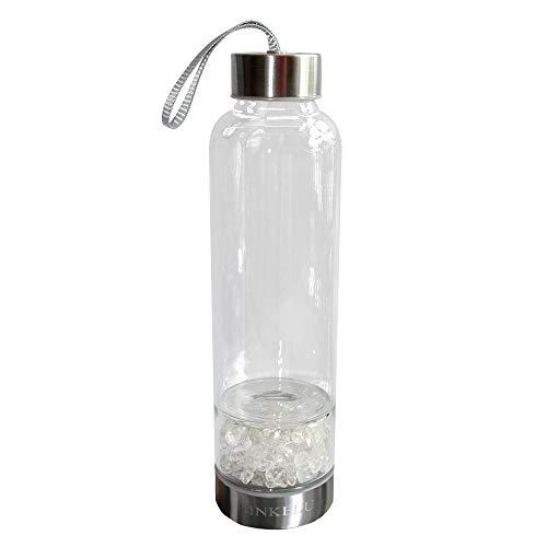 Sinkelu Gemstones and Crystals Water Bottle Sports Water Bottle Eco-Friendly Glass Bottles Insulation Bottles (Clear Quartz)