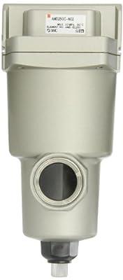 "SMC AMD250C-N02 Micro Mist Separator Compressed Air Filter, Manual Drain, 0.01 micron, 1/4"" NPT"