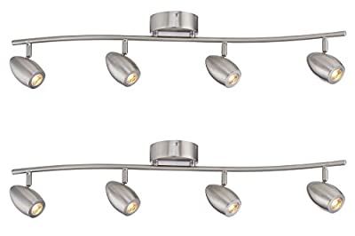 Designers Fountain EVT101727-35D-2 3'. Led Brushed Nickel Track Lighting Kit with 4 Led Track Lights (2 Pack)