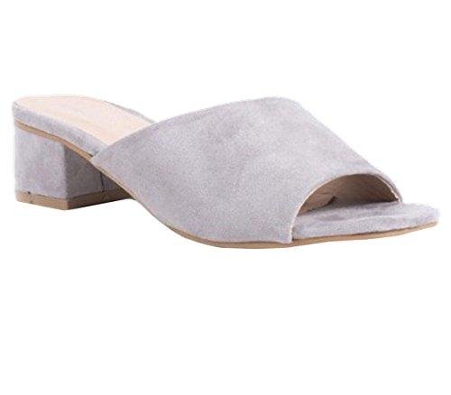 SHU con tacón gamuza con bajo de abierta abierto Zapatillas Mule CRAZY sandalias punta sintética gris tacón mujer para de L8 zapatos y vwXnd4xPqn