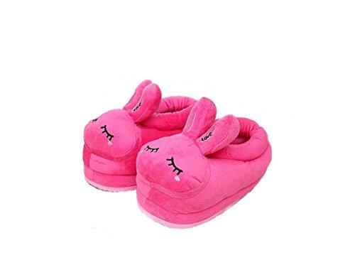 pantoufles la à bande Red chaudes chaussures animaux animaux maison peluche de douce dessinée Chaussures neutres en maison nxFqB6AA