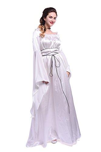 Renaissance Fancy Dress (Women Renaissance Costume Dress Sweet Princess Long Sleeve Fancy Maxi Dresses GC285A-S(Small, White))