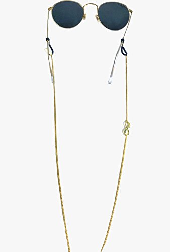 Sintillia Infinity Chain Statement Sunglass Strap, Glasses Chain, Eyeglass Cord (Gold with Black - Cute Croakies