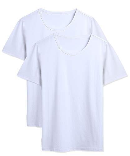 DAIKEN Men's Ultra Adult White T-Shirt Crew Neck Jersey Knit Underwear 2-Pack