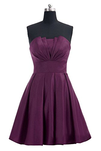 Huafeiwude Womens Strapless Knee Length Satin Bridemaid Cocktail Dresses Grape M