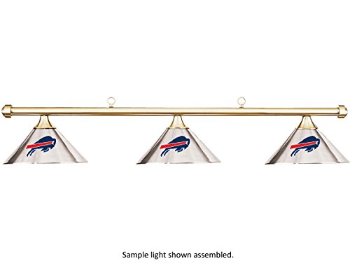NFL Buffalo Bills Chrome Shade & Brass Bar Billiard Pool Table Light