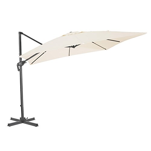 Cloud Mounatin 10 x 10 Ft Patio Umbrella Offset Outdoor Umbrella, 8 Ribs 100% Polyester with Cross Base Cantilever Hanging Umbrella, 360 Degree Rotation (Mike White) Review