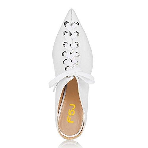 Fsj Femmes Mode Cône Mi-talons Mules Bout Pointu Lacets Diapositives Robe Décontractée Sandales Taille 4-15 Us Blanc