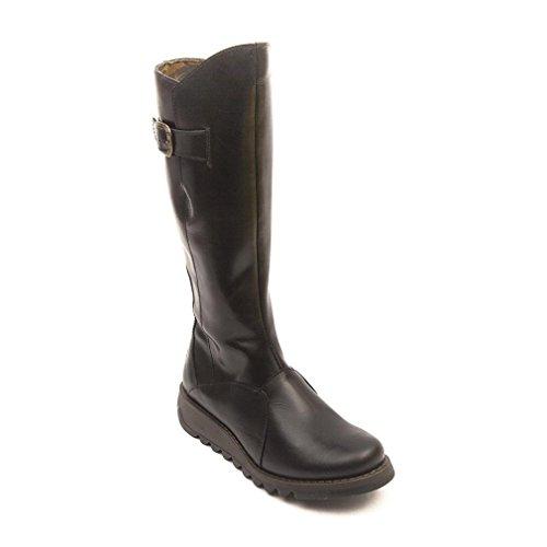 Fly London MOL 2 Knee High Leather Winter Boot - Low Wedge Cleated Sole - Rug Black, Rug Purple UK3 - EU36 - US5 - AU4 Rug Black