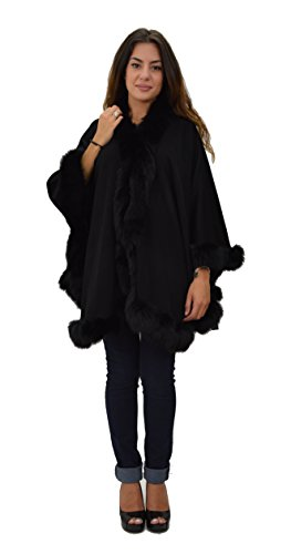 Cashmere Wrap Cape with Fox Trim and Button-black by Hima