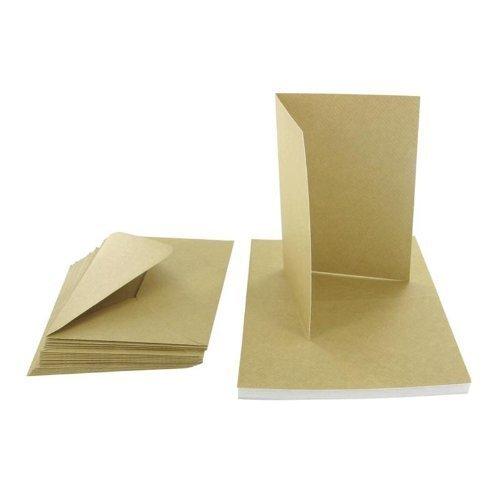 Recycling Kraftpapierkarten, blanko, inklusive Briefumschläge, Braun, A6, 50 Stück