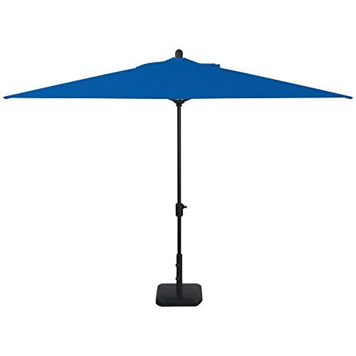 Secret Garden Home Goods Laguna Cove 10' x 6.5' Rectangular Auto Tilt Market Umbrella (Black Sapphire, Sunbrella- Pacific Blue)