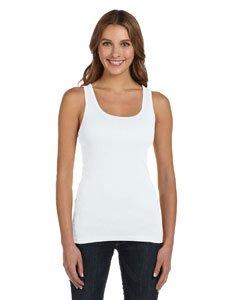 Ladies' Sheer Rib Longer Length Tank Top, Color: White, Size: Medium