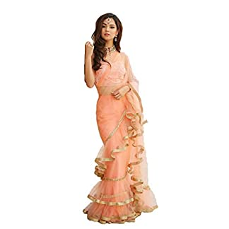 Natural Creation Women Net Raffle Saree With Blouse Pics (Gotis-7109_Peach_Free Size) 31Em2SXIkNL