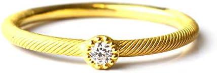 純金 レディース ピンキーリング 一粒ダイヤモンド 小指 指輪 K24 24金ジュエリー (3)
