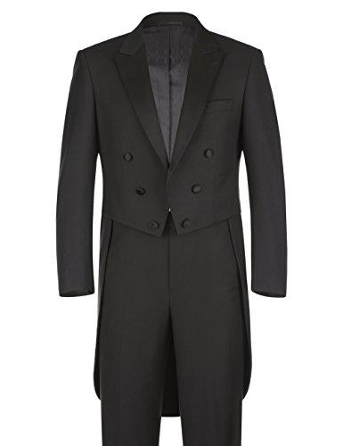 Peak Tailcoat - Chama 2 Piece Men's Classic Fit Black Tuxedo Tailcoat Tail Coat Suit, Suit Jacket Blazer, Suit Pants (Black, 40R)