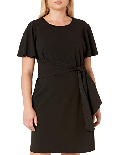 Donna Morgan Women's Plus Size Tie Front Crepe Dress, Black, 16W