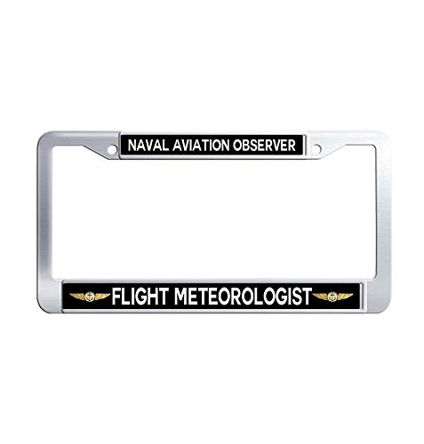 Toanovelty Naval Aviation Observer Flight Meteorologist License Plate Frame, Waterproof Auto License Plate Frame, Stainless Steel Auto License Tag Holder 6' x 12' in -