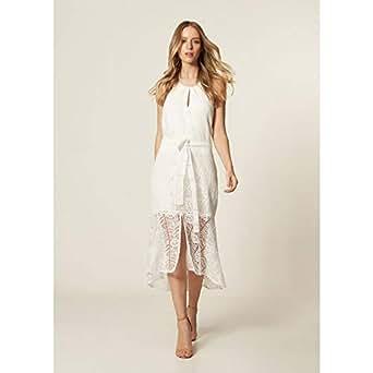 Vestido Renda Frente Única Off White - P
