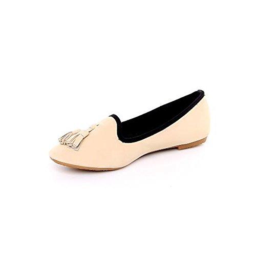 Damen Ballerinas Flats Designer Shoes Slippers New LADIES SHOES Beige - Beige USrO3pRN8T