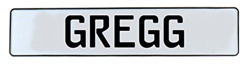 Greggs Customs License Plate - Vintage Parts Gregg Stamped Aluminum Street Sign Man Cave Wall Art, White