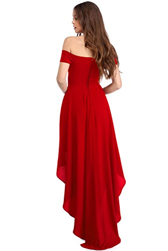 New Frau Rot OFF Schulter High Low Hemline Abendkleid Party Kleid Casual Cruise Ball Wear Größe L UK 12EU 40