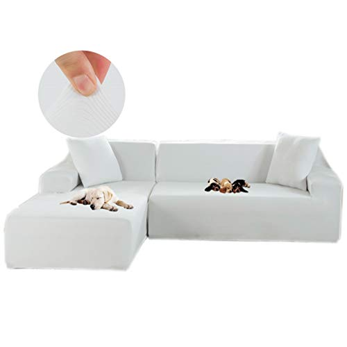 Obokidly Anti-Skid Dustproof Pet Sofa Slipcovers for Loveseat,Sofa,Large Sofa Lounge Couch,2Piece Sectional Corner L-Shaped Sofa Protector (White, L Sectional Sofa) (Couch White Corner)