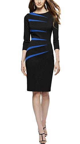 REPHYLLIS Women's Classicial Scoop Neck Retro Business Bodycon Pencil Dress M Blue