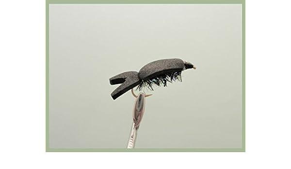 TroutfliesUK - Flotador Negro Pack de 6 bronceadores flotantes Negros tamaño 10 para Pesca con Mosca,: Amazon.es: Deportes y aire libre