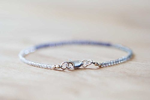 Ultra Delicate Iolite, Rainbow Moonstone & Labradorite Bracelet, Multi Gemstone Skinny Stacking Bracelet, Iolite Bracelet, Moonstone Jewelry 2mm 7 inches ()