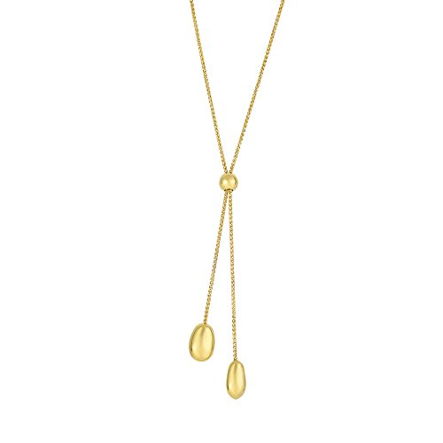 14k Yellow Gold Textured Lariat Style Necklace - 24