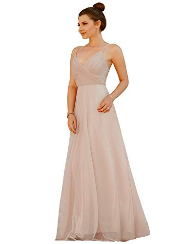 Ever-Pretty Adjustable Spaghetti Straps Long Blush Chiffon Bridesmaid Dress with Ruched Bodice 4US Blush