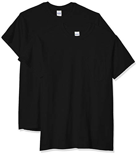 Adult Ultra Cotton T-shirt - Gildan Men's Ultra Cotton Adult T-Shirt with Pocket, 2-Pack, black, 2X-Large