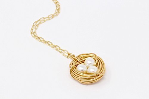 Bird Nest Necklace With Ivory Eggs (Nest Necklace Bird)