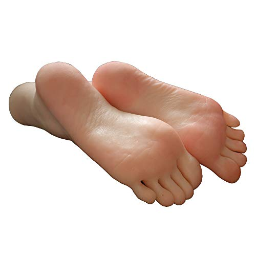 (1 Pair Silicone Lifesize Girl Mannequin Foot Display Jewerly Sandal Shoe Sock Display Art Sketch with Nail)