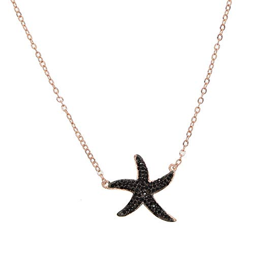 - Newest 41+5cm Chain Rose Gold Black Starfish Pendant Necklace with Free Chain Beach Themed Summer