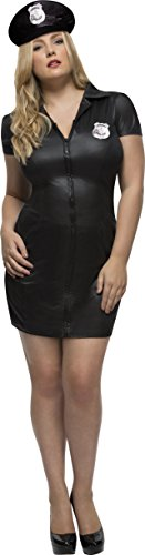 Smiffy's Women's Fever Cop Costume, Dress, Chain detail and Hat, Fever Curves, Plus Size 26-28, 41003 - Cop Halloween Costumes Plus Size