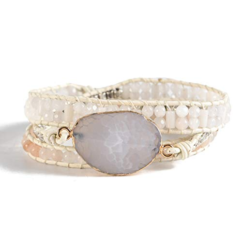 YGLINE Handmade Natural Agate Stone Druzy 3 Strands Wraps Boho Statement Women Bracelet Collection (Multi-B)