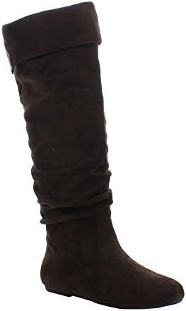 2aaf994baed Da Viccino TOP-01 Women s Slouch Side Zipper Flat Fold Cuff Knee High Boots