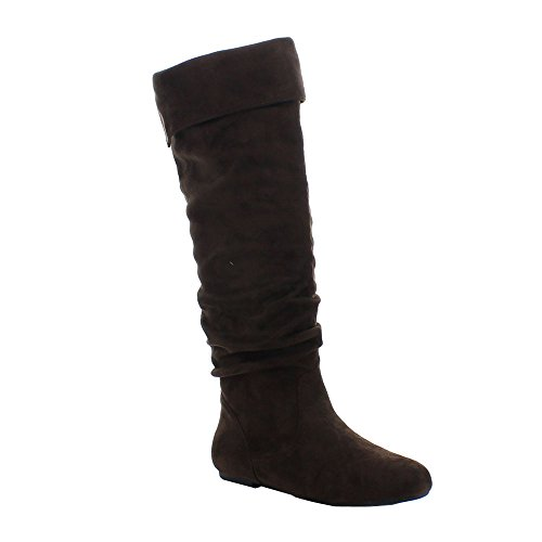 Fold Over Flat Boot - DA VICCINO TOP-01 Women's Slouch Side Zipper Flat Fold Cuff Knee High Boots, Color Brown, Size:9