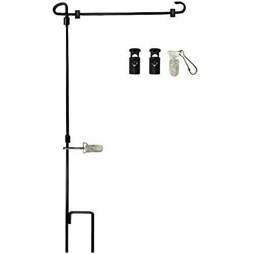 W&X Garden Flag Stand-Holder-Pole with Garden Flag Stopper and Anti-Wind Clip 36.3
