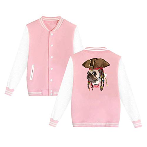 Jacket Portrait Collar - Men Women Stand-Collar Long-Sleeve Baseball Uniform Jacket Portrait of A Pug in Pirate Hat Sweater Sweatshirt with Pockets Pink 33