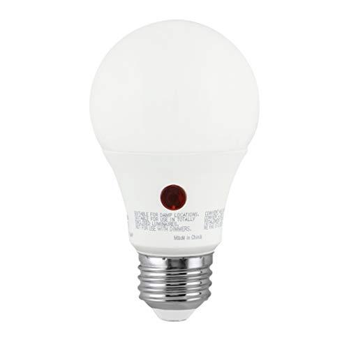 Greenlite LED A19 9W Dusk to Dawn Photocell Light Bulb, 3000K Bright White, 60W Equivalent, 800 Lumens, Indoor/Outdoor, E26 Medium Base, 120V, Energy Star, (1 Pack)