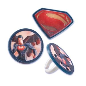 *FREE STANDARD SHIPPING - 24 Rings - DC Comics Superman Man of Steel - Official Crispie Sweets Cupcake Topper KIT - w/ Dusting Sugar Sampler & Bonus Card - We Ship Within 1 Business Day w/ *FREE Standard Shipping!