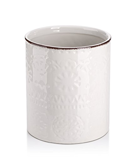"Lifver Fine Embossed Ceramic Crock Utensil Holder, 7.2"" x 6.2"", White"