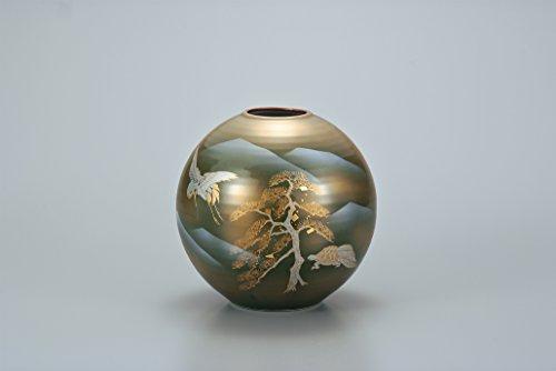 Japanese drawn Ceramic Porcelain kutani ware. Japanese Ikebana flower vase. Crane and tortoise.