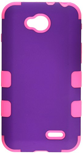 Asmyna Rubberized TUFF Hybrid Phone Protector Cover for LG D415 Optimus L90 - Retail Packaging - Grape/Electric -