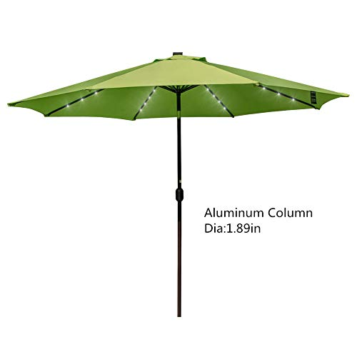 Sundale Outdoor 11FT 40 LED Lights Aluminum Patio Market Umbrella with Hand Push Tilt and Crank, 1.89in Dia Pole, Garden Pool Solar Powered Lighted Parasol, Apple Green