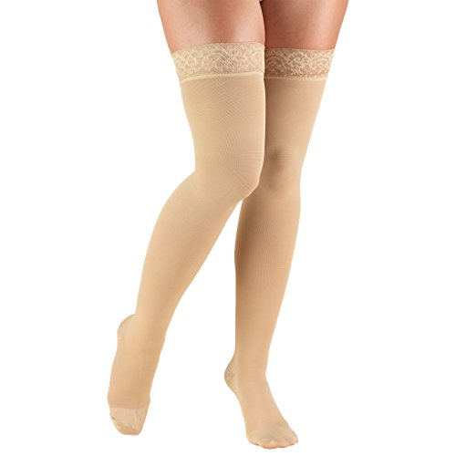 Truform 20-30 mmHg Compression Stockings for Women, Lace Trim Band, Thigh High Length, Closed Toe, Medium