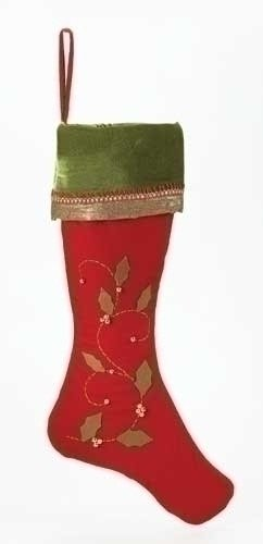 "Roman 26"" Festive Red Velvet Christmas Stocking with Green Cuff and Holly Leaves"